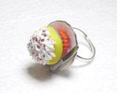 Rainbow Cupcake Ring. Polymer Clay.