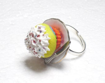 Rainbow Cupcake Ring. Polymer Clay.