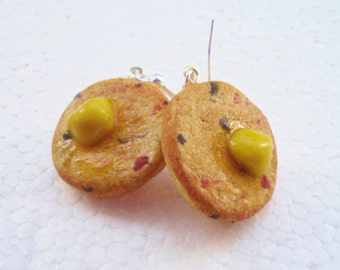 English Toasted Teacake earrings. Polymer clay.