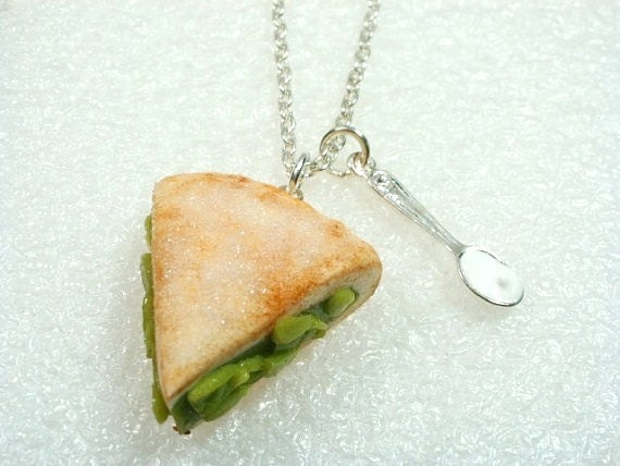 Slice Of Apple Pie Pendant.  Polymer clay