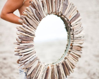 """Driftwood Mirror 28"""" Double Layer"""