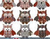 Owls Clip Art Red and Black Love Digital Birds