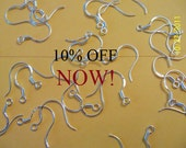 Sale 100 .925 Sterling Silver Ear Wires 50 Pr. Same to Next Day Shipping