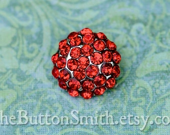 Rhinestone Buttons -Holly- (18mm) RS-057 in Ruby - 5 piece set