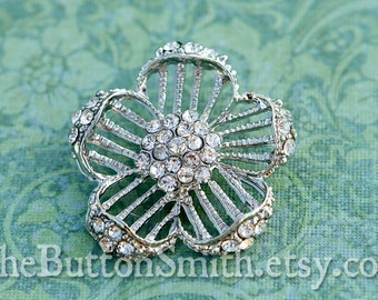 """Rhinestone Buttons """"Delilah"""" (30mm) RS-028 - 5 piece set"""