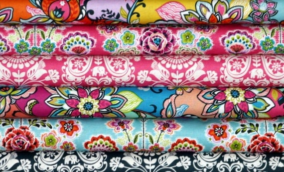 Fabric Bundle for quilt or craft Blend Global Bazaar by Josephine Kimberling 6 Half yards