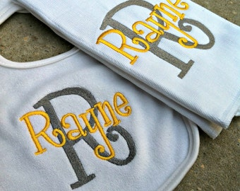 You Customize Colors and Name - Burp Cloth and Bib Set