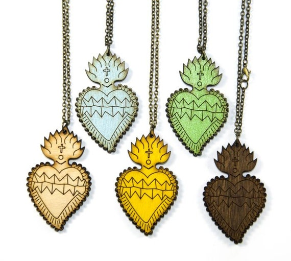 Wooden Sacred Heart Necklace