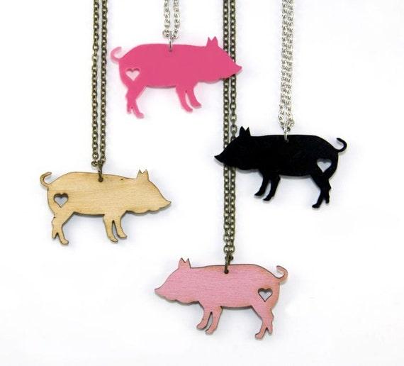 Pig Love Necklace - Handmade - Laser Cut - laser cut jewelry