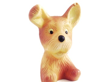 Dog rubber toy, his name is Dima. Use him to decorate your home, collect, play.