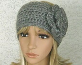 Wide Womens Teens Grey Heather Earwarmer Headband with Removable Flower Clip