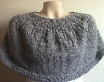 Knitting Gray Caplet, Shrug, Shawl, Caplet, Womens Knitting GrayCape, Shrug in Gray