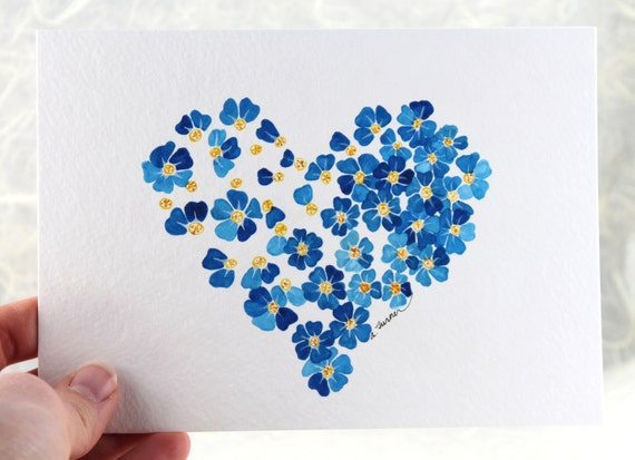 Forget Me Not No. 3 Original Watercolor Illustration Not a