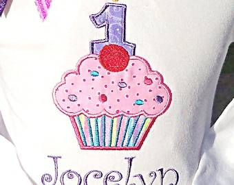 Cupcake Birthday shirt-YOUR CHOICE with or without the number Candle-FREE name