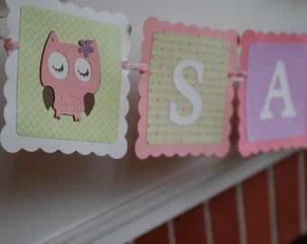 Owl Banner, Owl Baby Shower, Owl Name Banner, Owl Birthday, Owl Nursery,