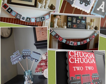 Train Birthday Party Package, Happy Birthday Banner, All Aboard Banner, Door Sign and Centerpieces, Train Theme