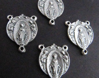 Vintage Style Silver Miraculous Medal with Angels Rosary Centerpieces - set of 4