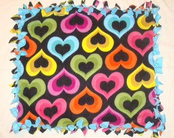 Fleece Tie Pet Blanket for Cats or Small Dogs - Colorful Hearts on Black