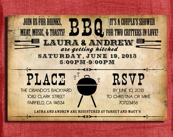 Printable Rustic BBQ Couples Wedding Shower  4x6 or 5x7  Invitation-DIY