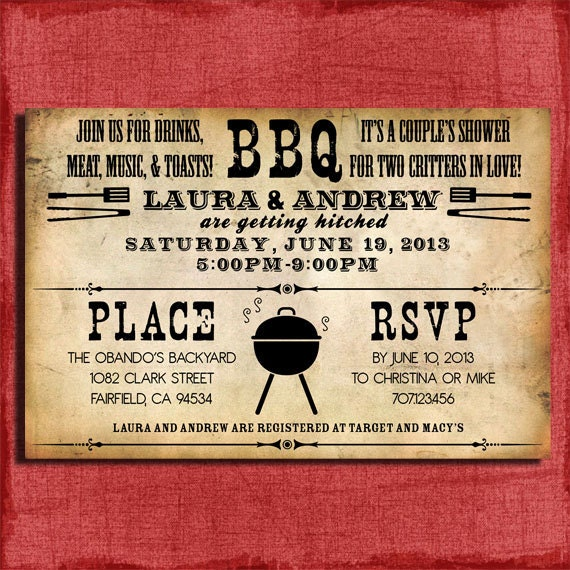 Printable Rustic BBQ Couples Wedding Shower 4x6 Or 5x7