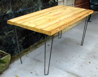 Modern, Contemporary/Urban Contemporary Small Dining Table, Desk Featuring  (Bright pine Number 2) , Wood Top with Hairpin Legs