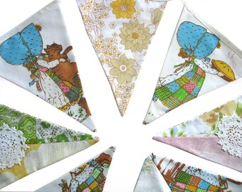 Holly Hobbie Vintage & Floral Flag Bunting.  HANDMADE . Party, Shop, Banner Decoration or Girls Bedroom Pennant . GIFT IDEA