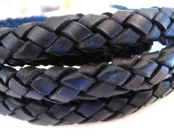 Leather Cord 12mm x 7mm - Black Oval Round Braided Bolo Genuine Leather Cord
