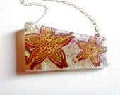 Sterling Silver Resin Necklace Colorful Star Flowers White Pearl 18 Inch Chain