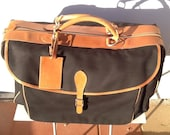 Rare vintage 80's Ralph Lauren overnight carry on leather and canvas bag