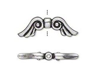10 Tibetan Silver or Goldtone Angel Wing Spacer Beads