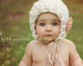 6- 12 mos Baby Bonnet - Pretty Twists FLOWERS AND LACE  Vintage Line - beige and ivory - photo prop - knitbysarah - Stitches by Sarah