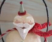 RESERVED for Jodi Santa Christmas Folk Art  Santa Claus Hanging Decoration Wreath