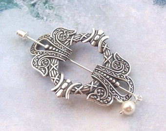 Silver Celtic Shawl Pin, Celtic Lapel Pin, silver shawl pin, mothers day, stick pin, hat pin,  spring fashion, silver scarf pin