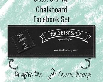 """Facebook Timeline Cover Set Chalkboard """"Chalk One Up"""""""
