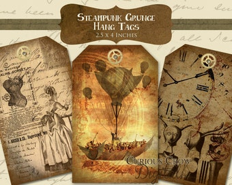 Grungy Steampunk Hang Tags Digital Collage Sheet - 2.5 x 4 Inches on 8.5 x 11 and A4 -Instant Printable Download