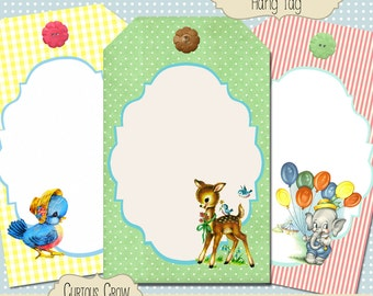 Vintage Animal Babies Hang Tags Digital Collage Sheet - 2.5 x 4 Inches - INSTANT Printable Download