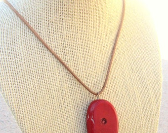 Genuine Red Coral Necklace. Chunky Red Coral Pendant Necklace. Leather Cord Necklace. Red Necklace. Coral Jewelry. Rustic Jewelry