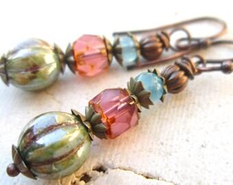 Czech Glass Dangle Earrings. Multi Color Drop Earrings. Multi Color Jewelry
