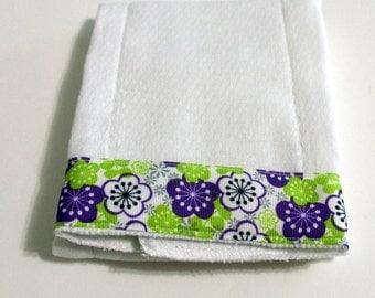 Purple Green Flowers  Baby Burp Cloth