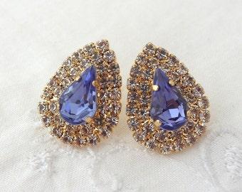 Stud earrings, Purpule violet stud earrings, Bridal earrings, Bridesmaids jewelry, Swarovski large teardrop studs,Rhinstones studs