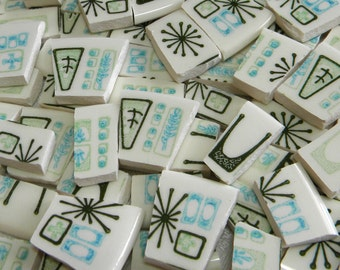 Retro ATOMIC - MOSAIC MINI Tiles - Broken China - 100 Mini Tiles