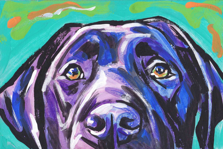 Labrador Retriever modern Dog art print black lab pop dog art
