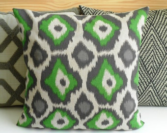 Both sides, Green and gray ikat dots decorative throw pillow cover