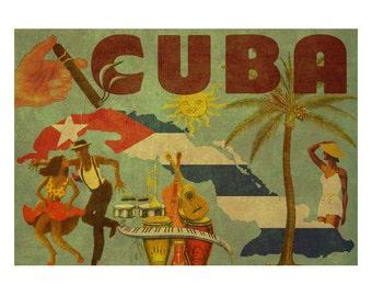 CUBA 2F- Handmade Leather Wall Hanging - Travel Art