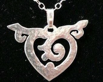 Heart : Unfurling, Silver Pendant