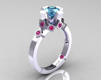 Modern Armenian Bridal 10K White Gold 1.0 Blue Topaz Pink Sapphire Solitaire Ring R240-10KWGPSBT