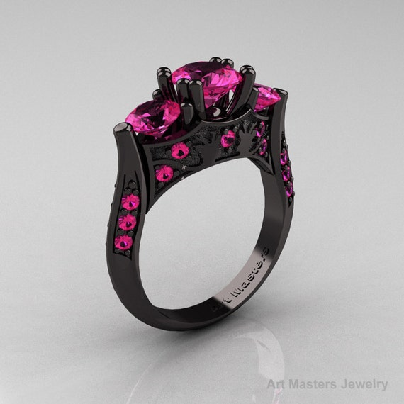 Items similar to Nature Inspired 14K Black Gold Three Stone Pink Sapphire Sol