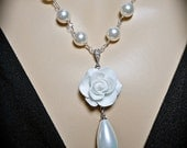 Pearl necklace - White - Rose Cabochon - Sterling silver - Bridal jewelry - Beautiful Feminine Jewelry -
