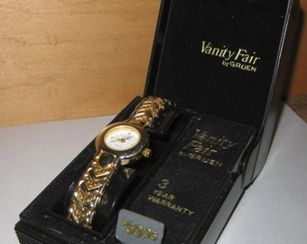 Womens Vanity Fair Gold Tone Watch Made By Gruen collectible ON SALE