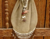 Gray Brown Suede Leather with Bear Fetishes Large Drawstring Bag